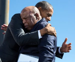 President Barack Obama hugs Rep. John Lewis at the 50th Anniversary of Bloody Sunday