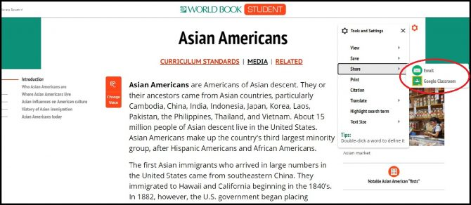 World Book Online article on Asian American history with the sharing ability to Google Classroom highlighted on right hand side.